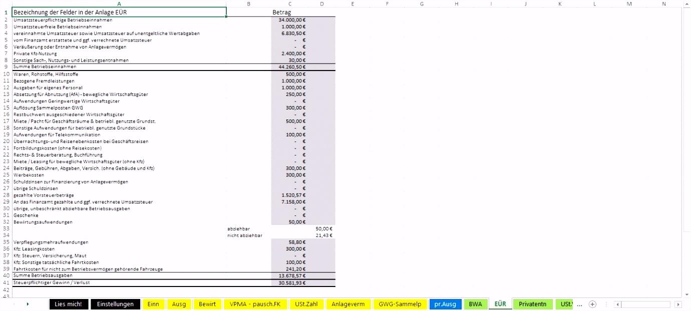 Inspirierende Buchhaltung Excel Vorlage