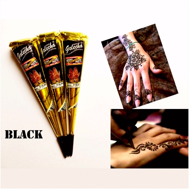 Body Paint Temporary Tattoo 25g Indian GOLECHA Henna Cones Black ink
