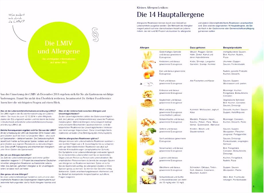 Allergene Speisekarte Vorlage Allergenkennzeichnung Gastronomie