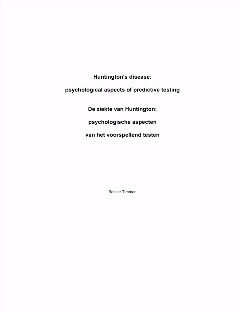 PDF Adverse Effects of Predictive Testing for Huntington Disease