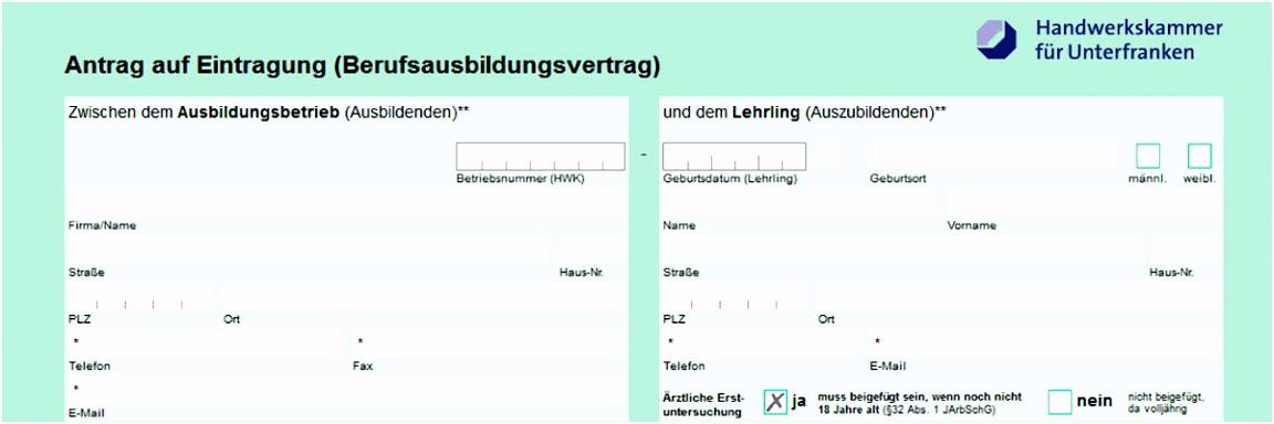 Lehrvertrag online Handwerkskammer für Unterfranken