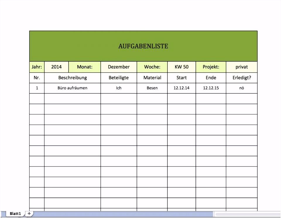 Besten Der Aufgabenliste Excel Vorlage