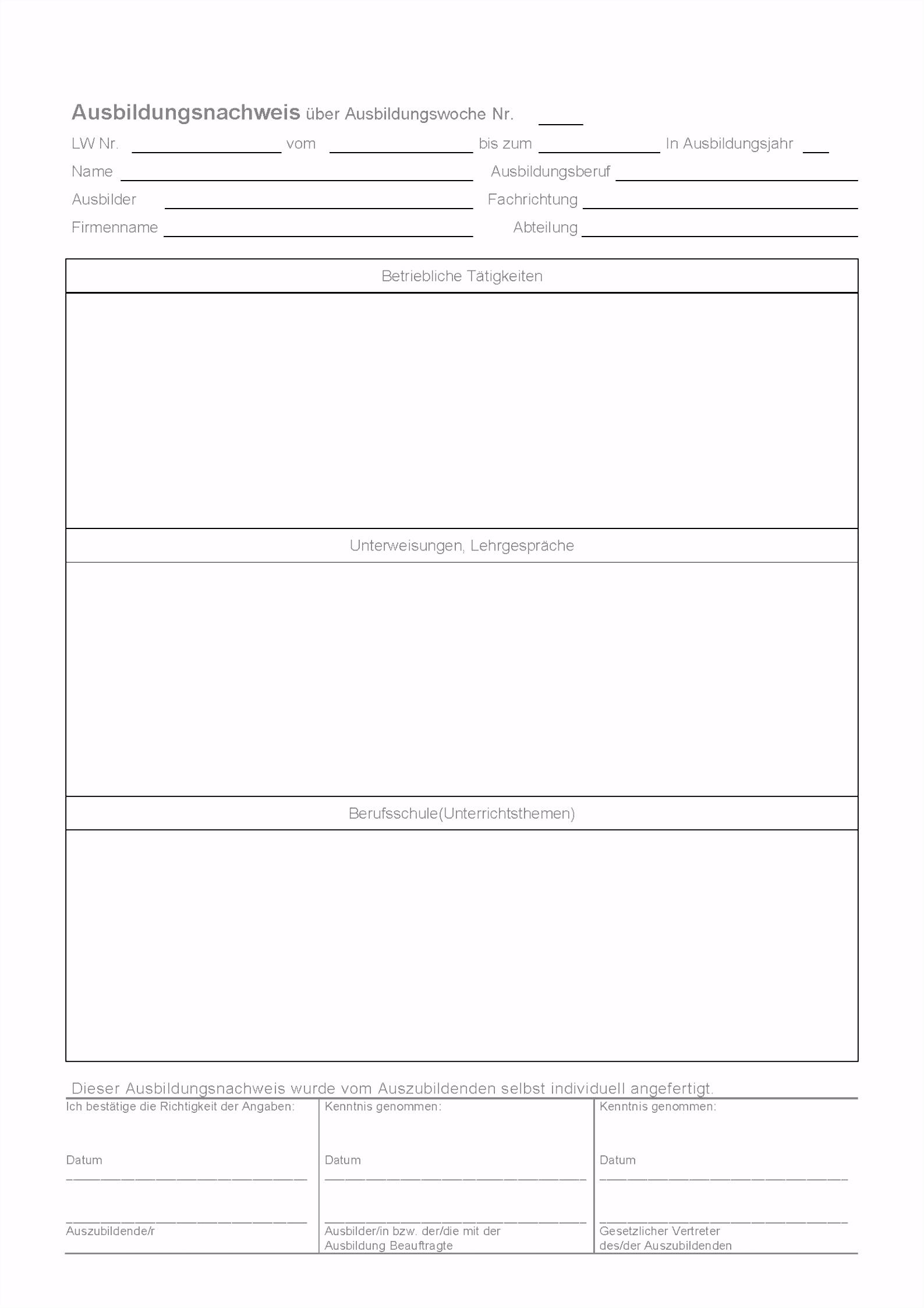25 Detaillierte Berichtsheft Vorlage Ihk Download