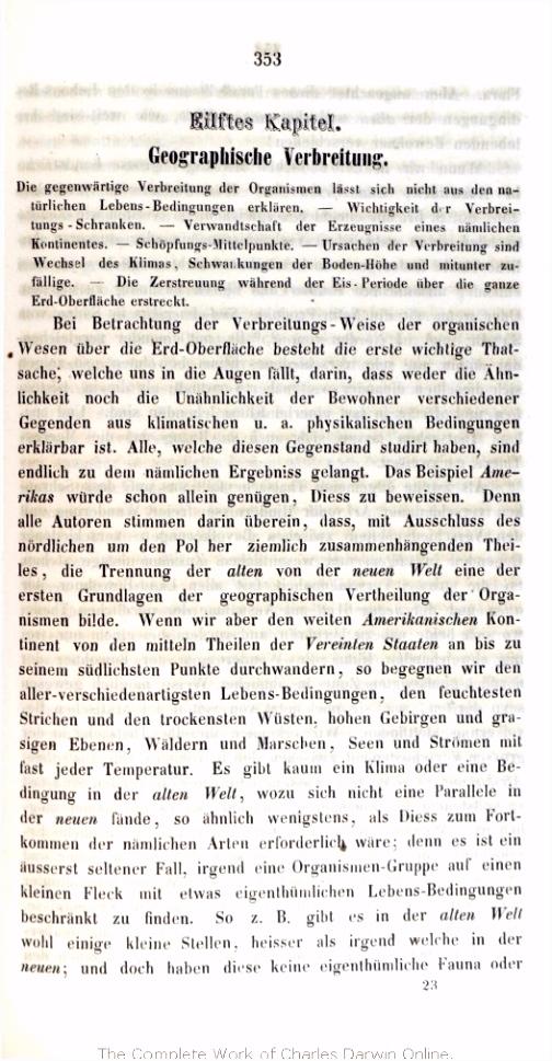 Darwin C R 1860 über Entstehung der Arten im Thier und