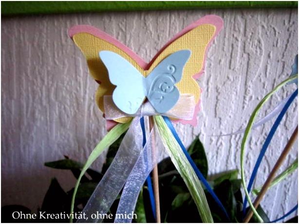 ohne Kreativität ohne mich DIY Schmetterlings Blumenstecker