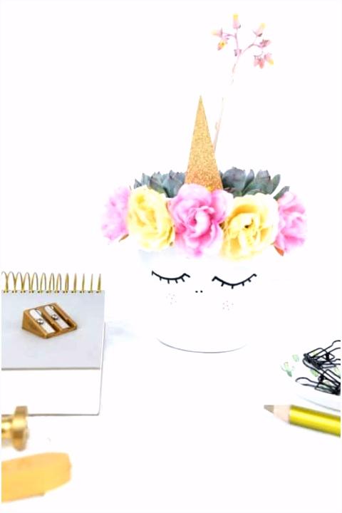 Einhorn Blumentopf DIY geburtstag Pinterest