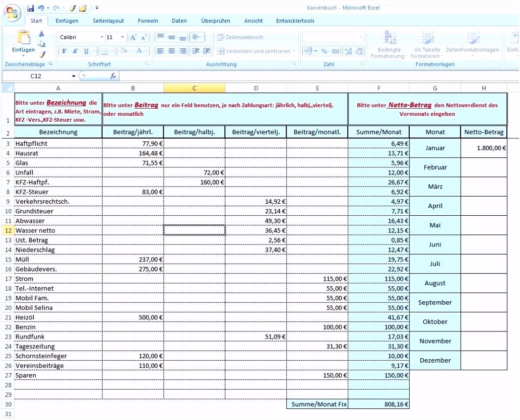 Einzigartiges Haushaltsbuch Excel Vorlage