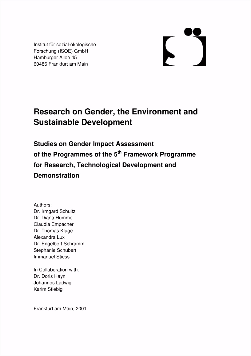 PDF Research on gender the environment and sustainable development