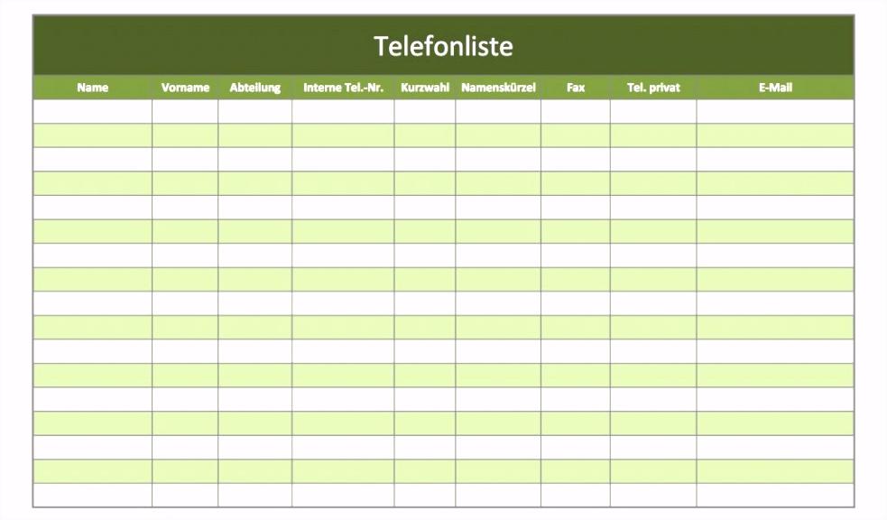Inspirierende Telefonliste Vorlage Kostenlos Downloaden