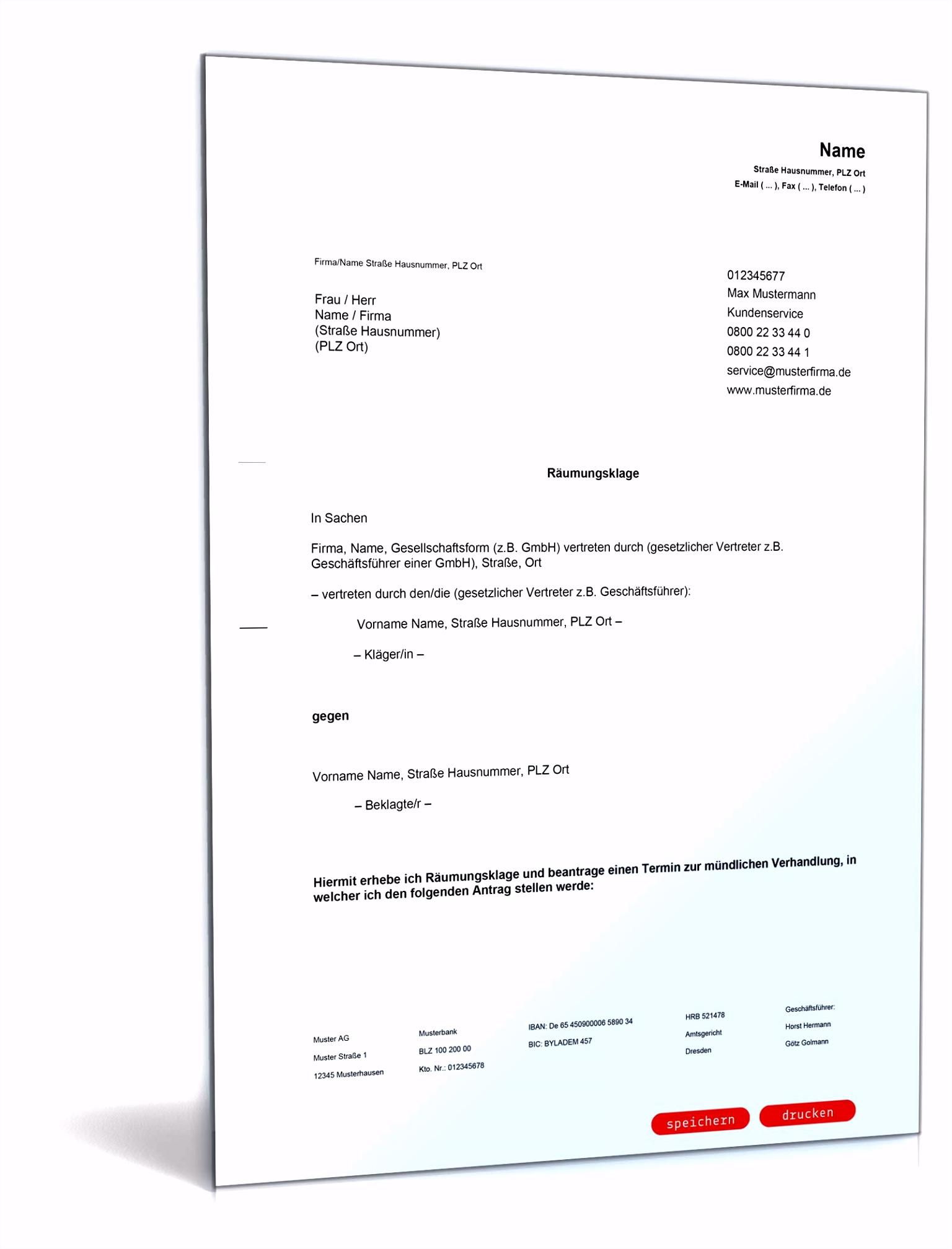 Räumungsklage Anwaltsgeprüfte Vorlage zum Download