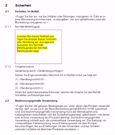 maschinenrichtlinie muster betriebsanleitung Konformitätserklärung