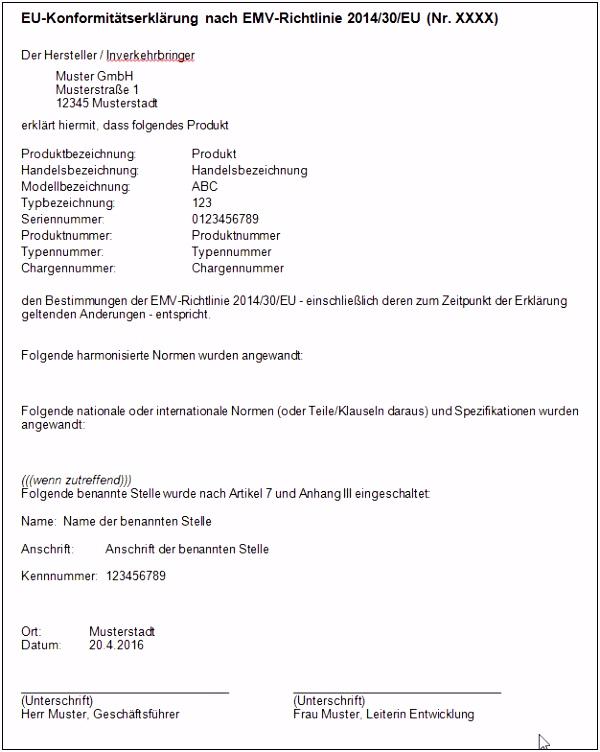 Einbauerklarung Maschinenrichtlinie Vorlage Muster Einer Eu Konformitätserklärung Nach Emv Richtlinie 2014 30 Eu T7wk58tdx5 Buqd42zid2