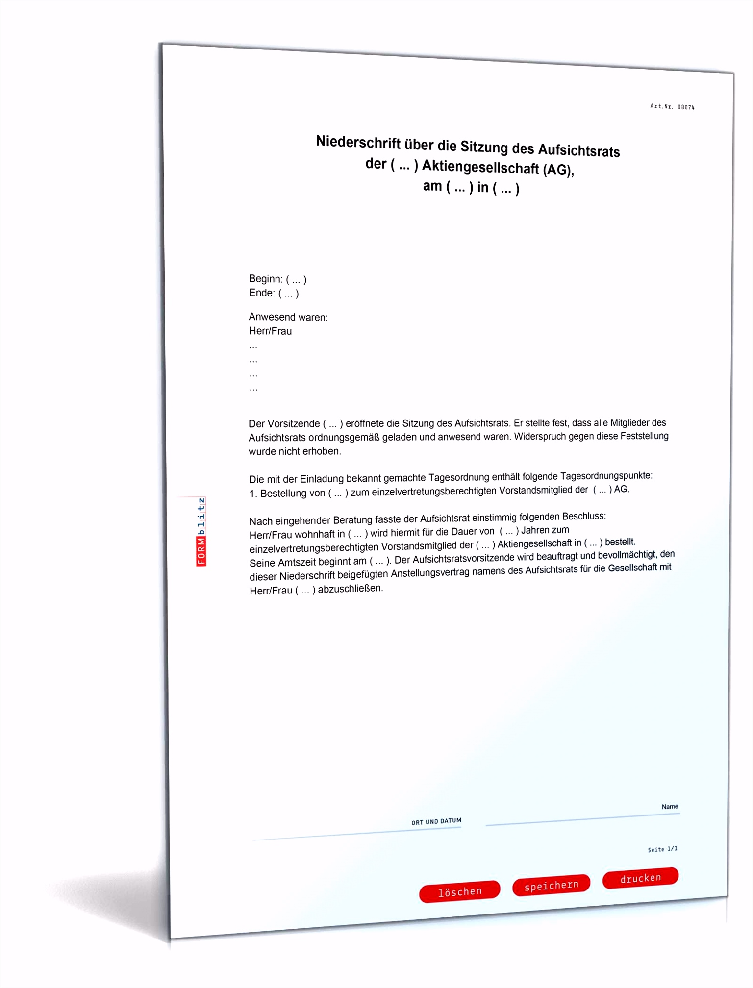 Bestellung Vorstand Aktiengesellschaft Muster zum Download