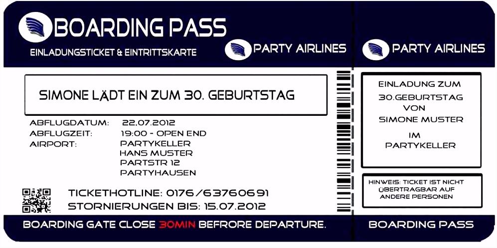 Flugticket line Ausdrucken Beispiel Einladung Flugticket Vorlage