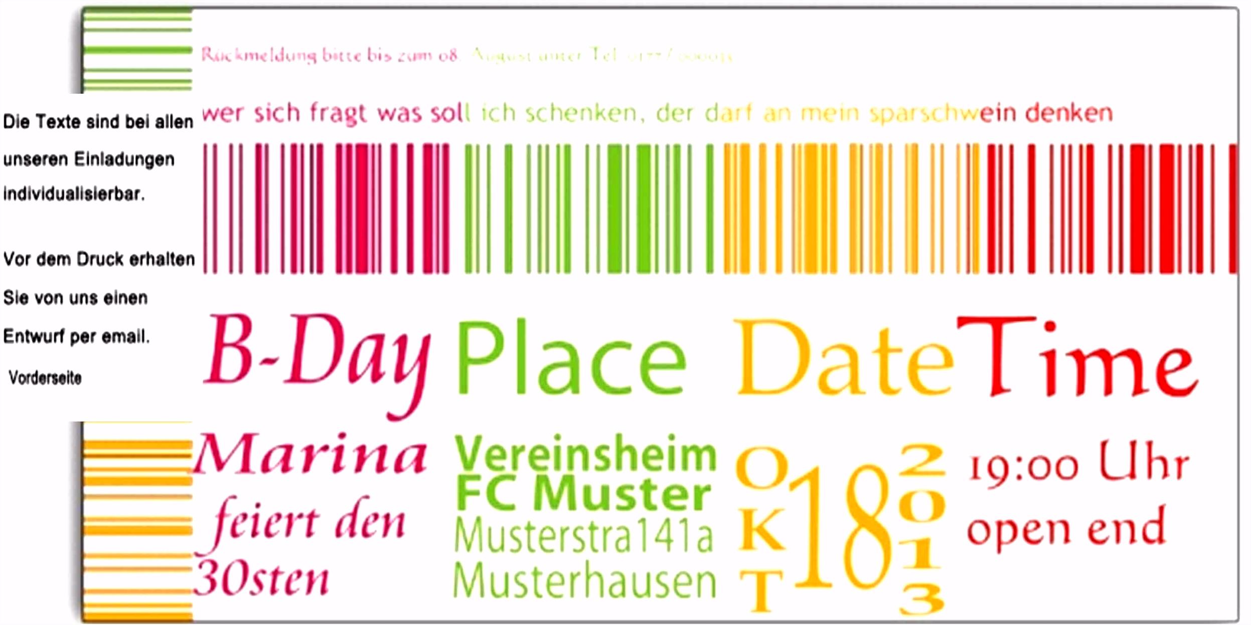 6 einladungskarten geburtstag 30 vorlagen