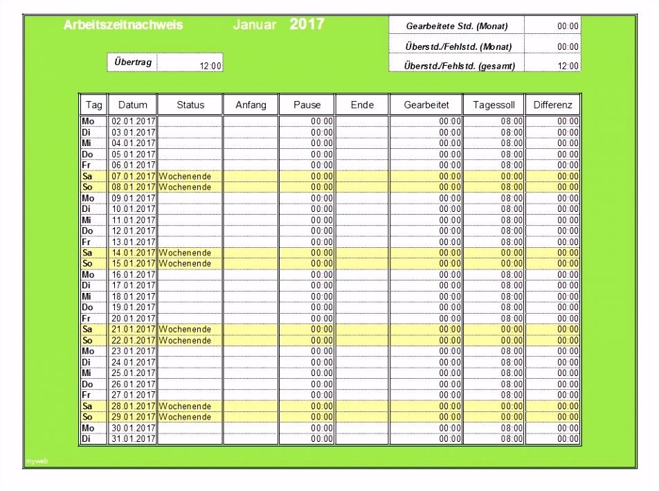 Arbeitszeittabelle Vorlage Kostenlos 65 Excel