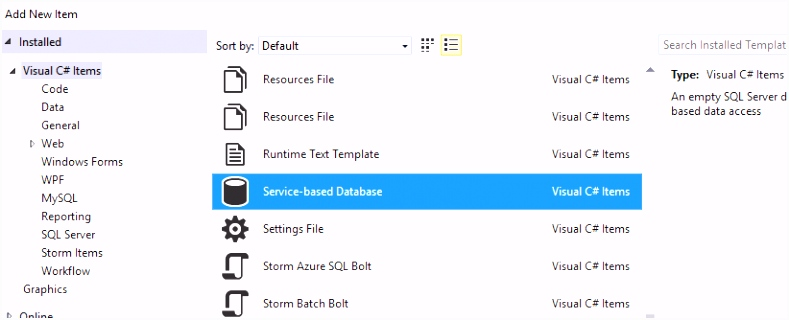 Create a database file and use table designer Visual Studio