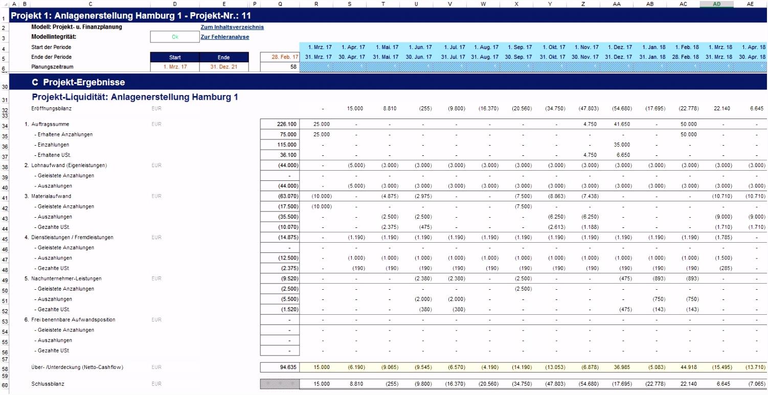 Excel Finanzplan Tool Projekt