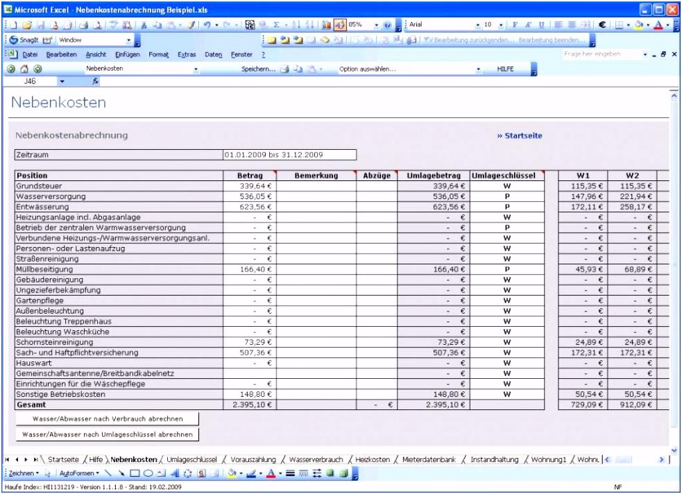 Nebenkostenabrechnung Muster Kostenlos Excel