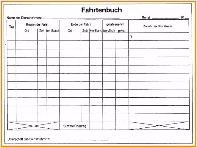 Fahrtenbuch Vorlage Kostenlos Zum Download Fr Pdf Openoffice Oder