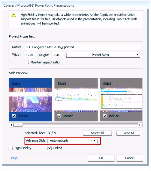 Festlegen von Folieneigenschaften in Adobe Captivate