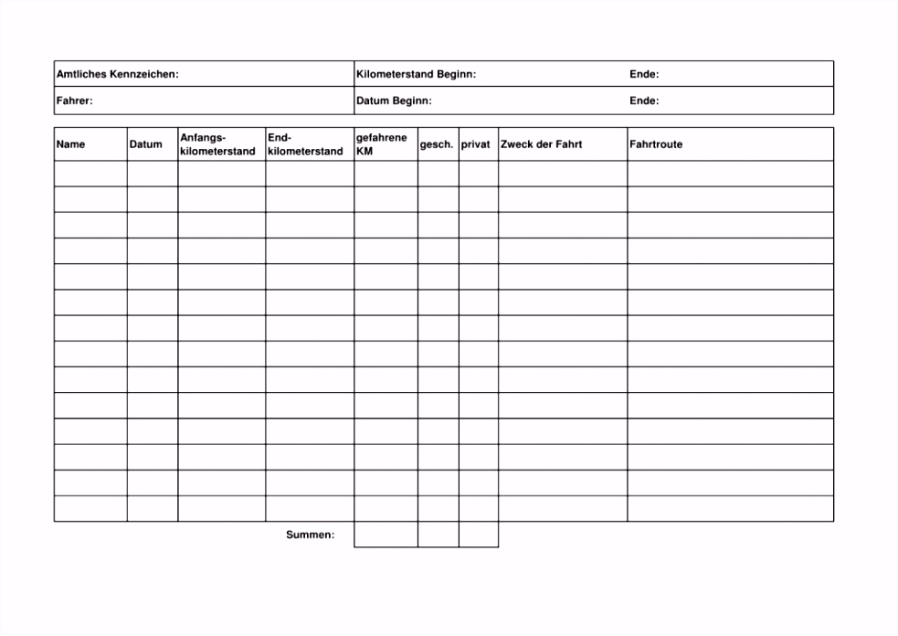 Fahrtenbuch Muster Excel
