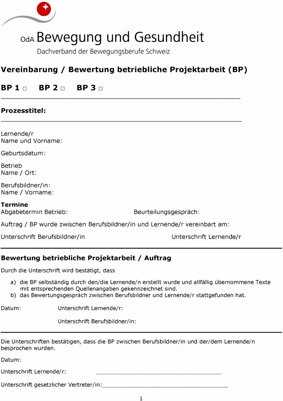 Vereinbarung Bewertung betriebliche Projektarbeit BP BP 1 BP 2