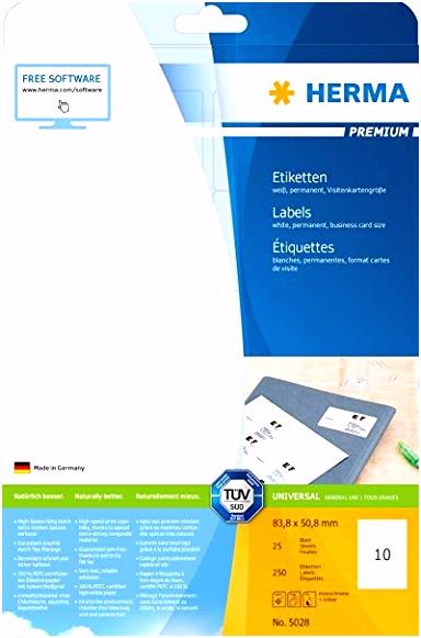 Herma 5028 Universal Etiketten Visitenkartenformat 83 8 x 50 8 mm