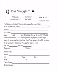 Sample videography contract Free PDF photography