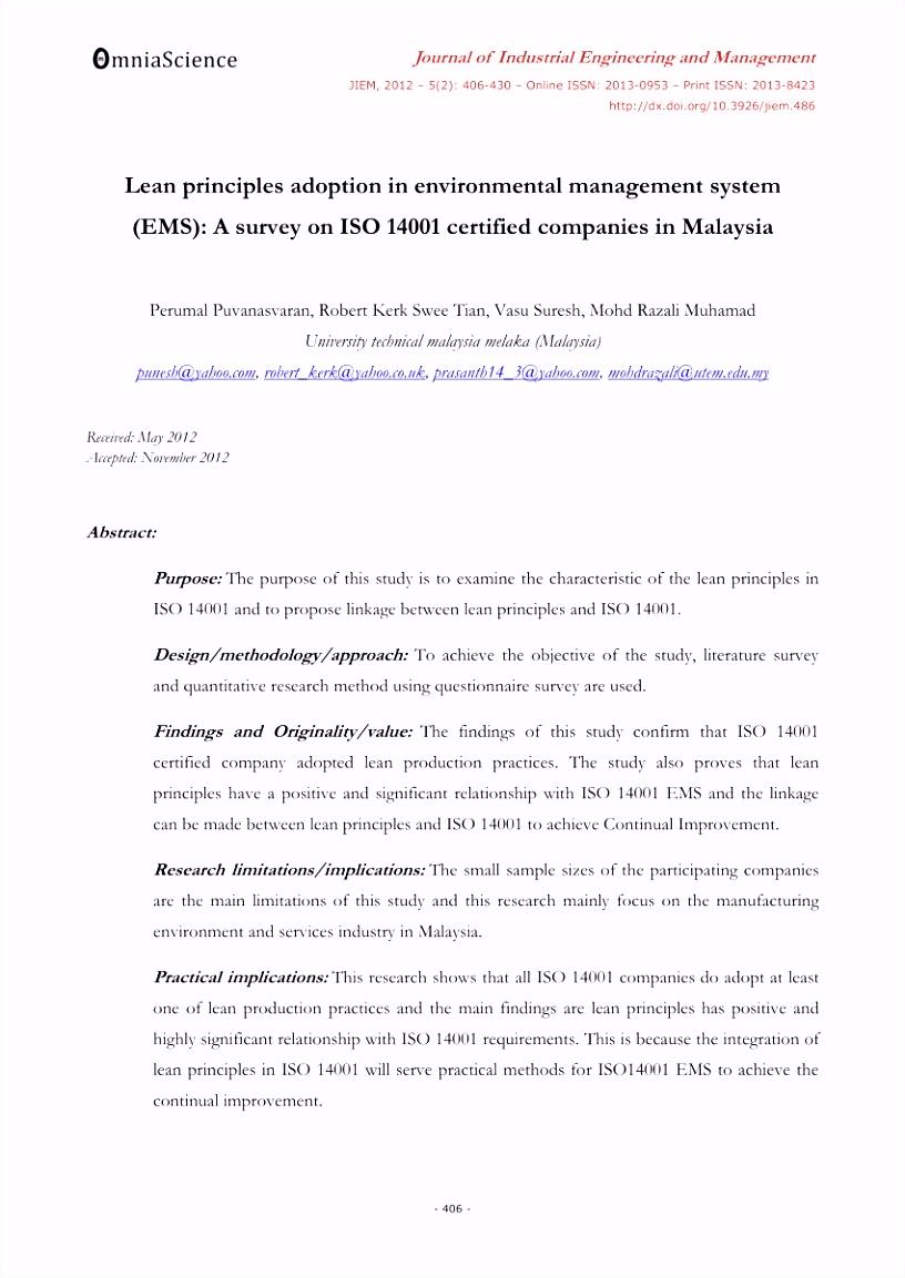 PDF Lean principles adoption in environmental management system