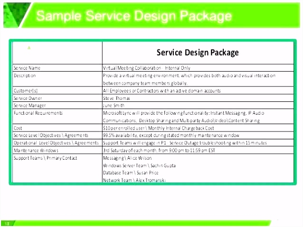 Service Catalog Template Itil V3 Service Definition Template Co