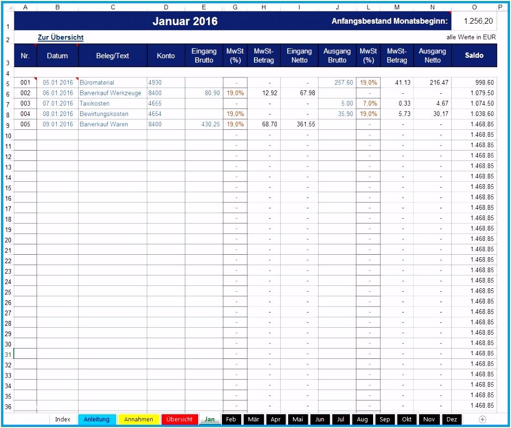 Kassenbuch Kostenlos Excel