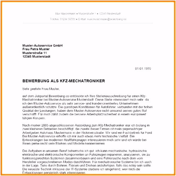 Bewerbung Ausbildung Kfz Mechatroniker 614 614 31 Bewerbung Kfz