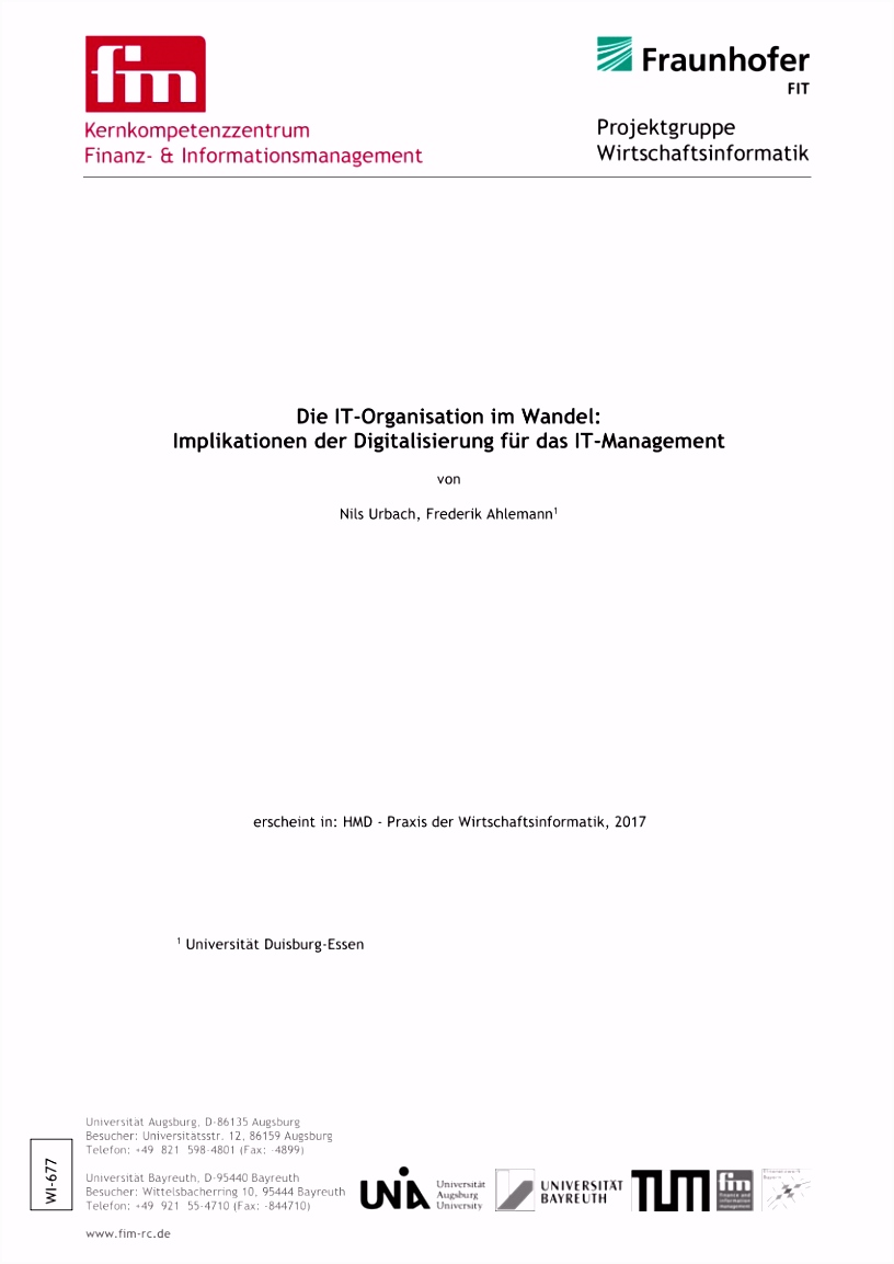 PDF Die IT Organisation im Wandel Implikationen der