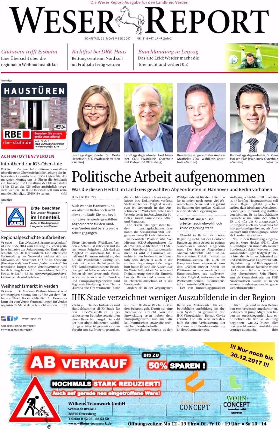 Weser Report Achim Oyten Verden vom 26 11 2017 by KPS