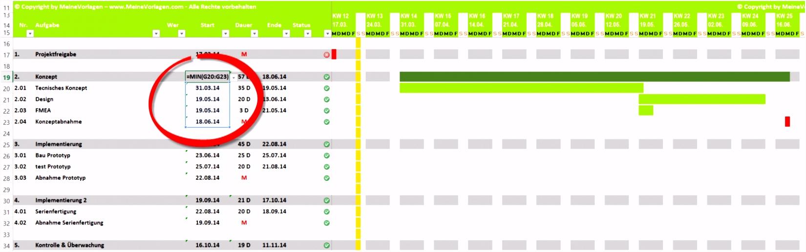 Projektplan Excel