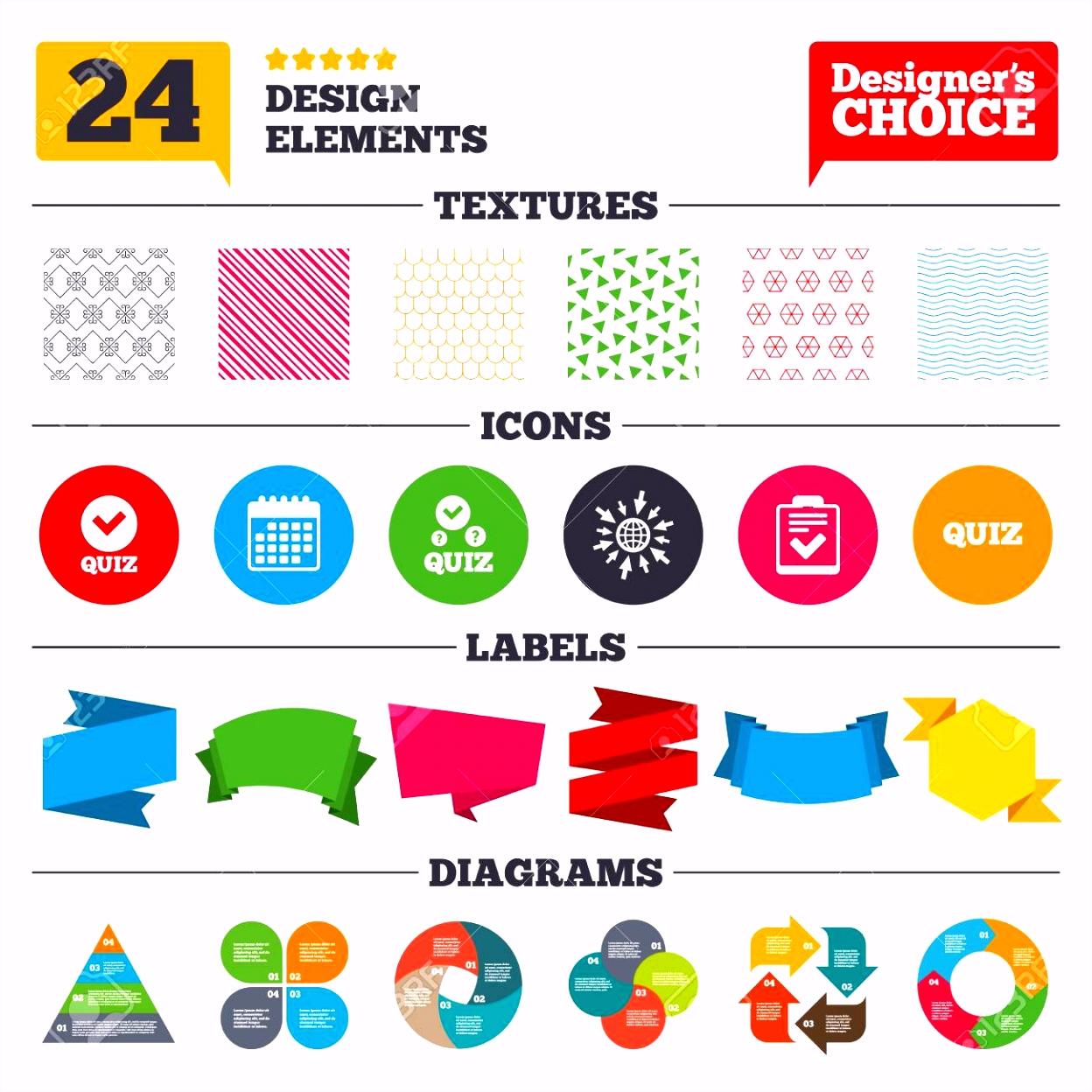 Banner Tags Aufkleber Und Diagrammdiagramm Quiz Icons Checkliste