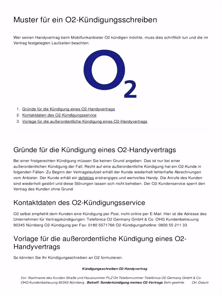 25 Die Besten Kündigung Handyvertrag O2