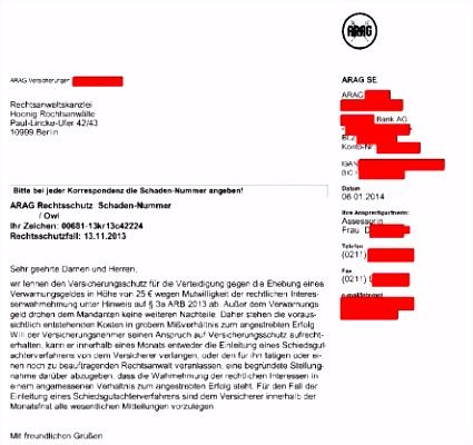 Mutwillige ARAG Kanzlei Hoenig Info
