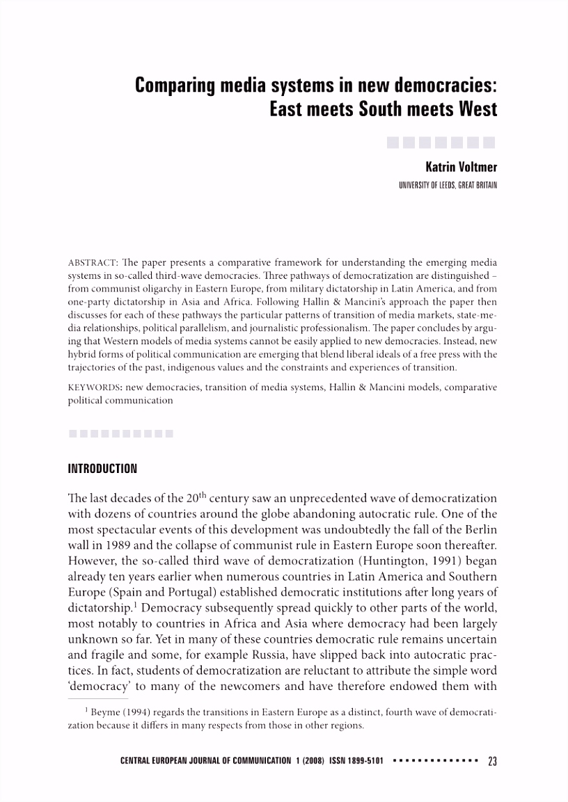 PDF paring media systems in new democracies East meets South