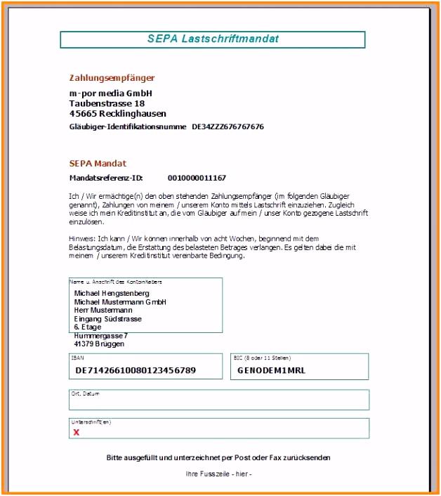 Vorlage Kündigung Bankkonto Sepa Mandat Vorlage