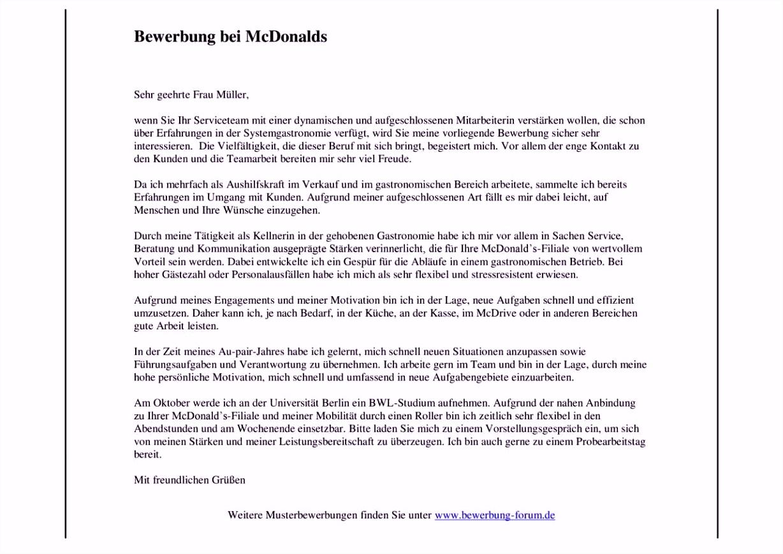 mcdonalds bewerbung muster und tipps bewerbung servicekraft teilzeit