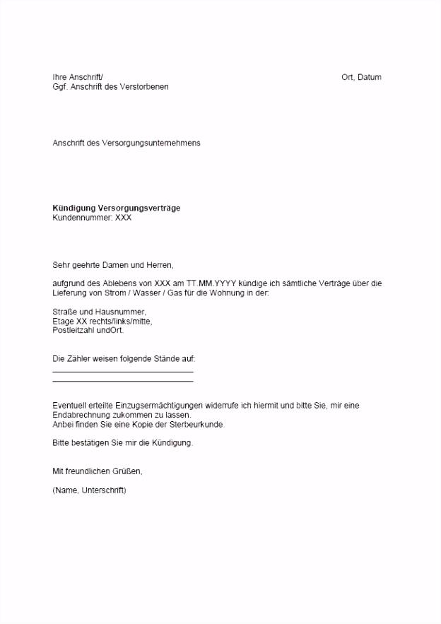 Schriftliche Kündigung Wohnung Vorlage Klassisch Kündigung Garage