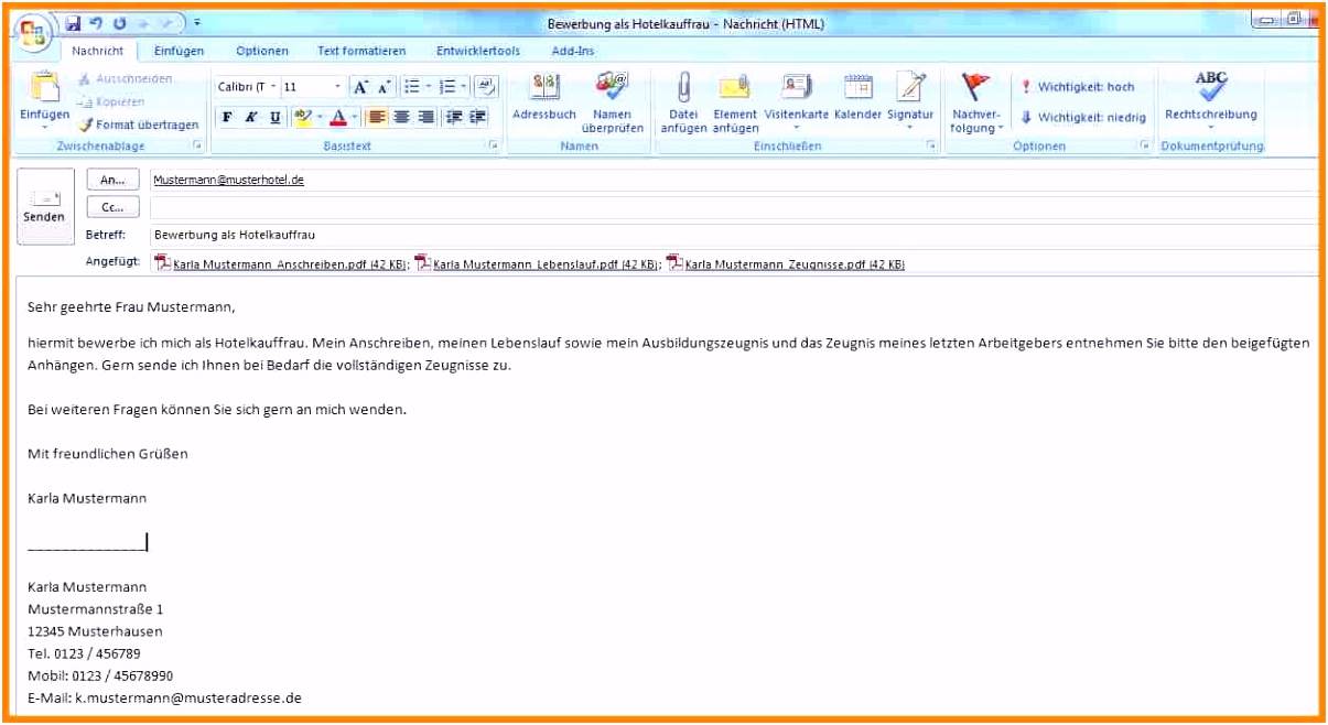 17 bewerbung per email text