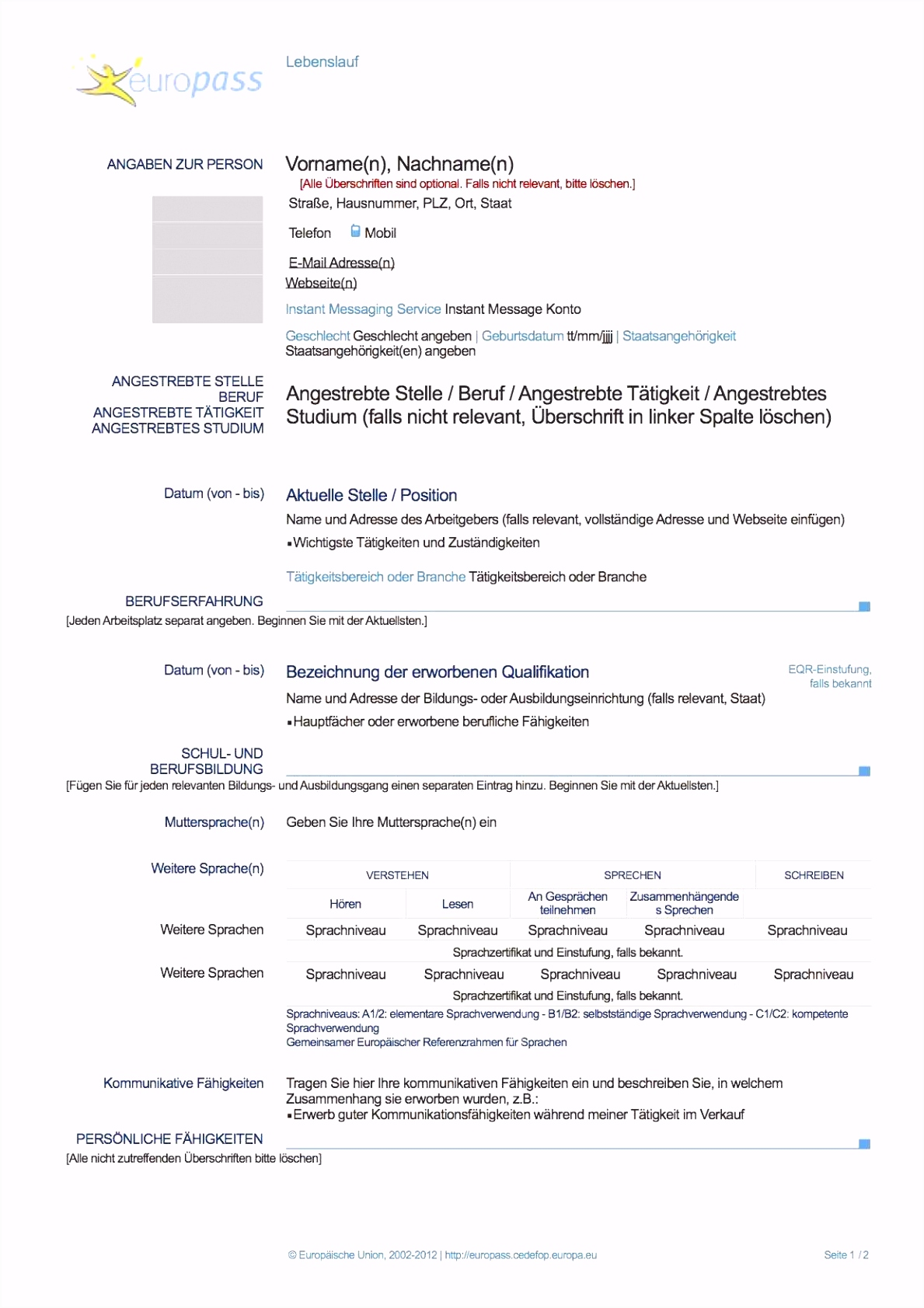13 tabellarischer lebenslauf muster pdf