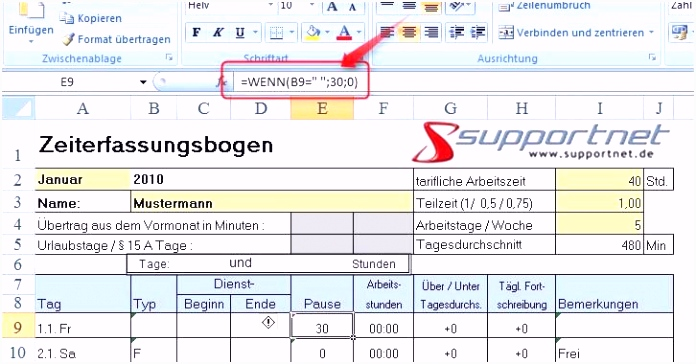 Leistungsverzeichnis Erstellen Excel Excel Zeiterfassung Vorlage