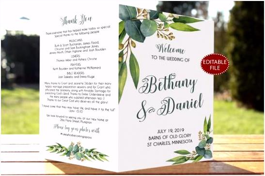 Hochzeit Programm Vorlage gefaltet gefaltet grün gefaltet