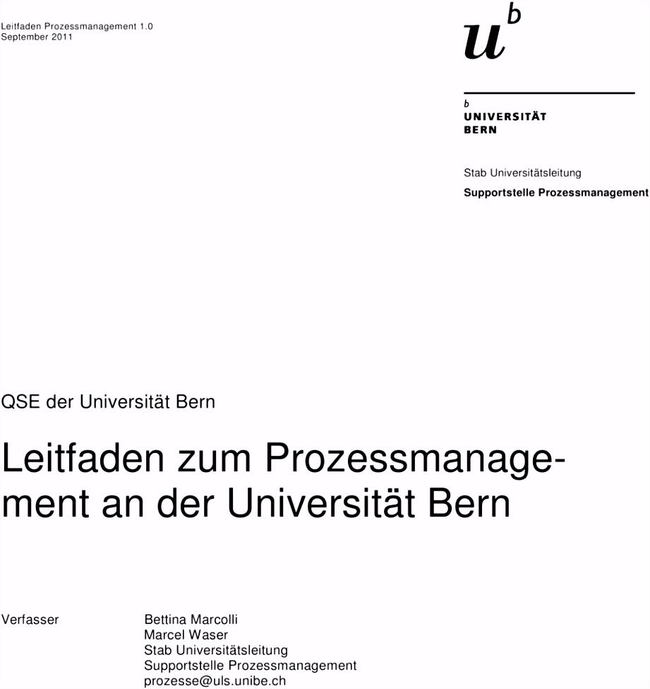 Leitfaden zum Prozessmanagement an der Universität Bern PDF