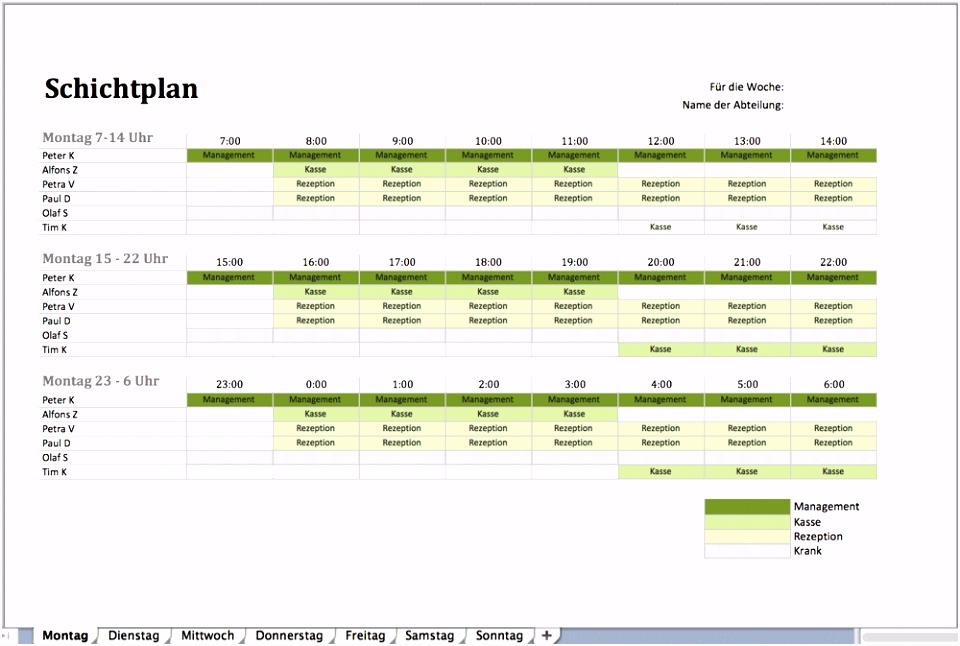 Einfacher Dienstplan Schichtplan Alle Meine Vorlagen De