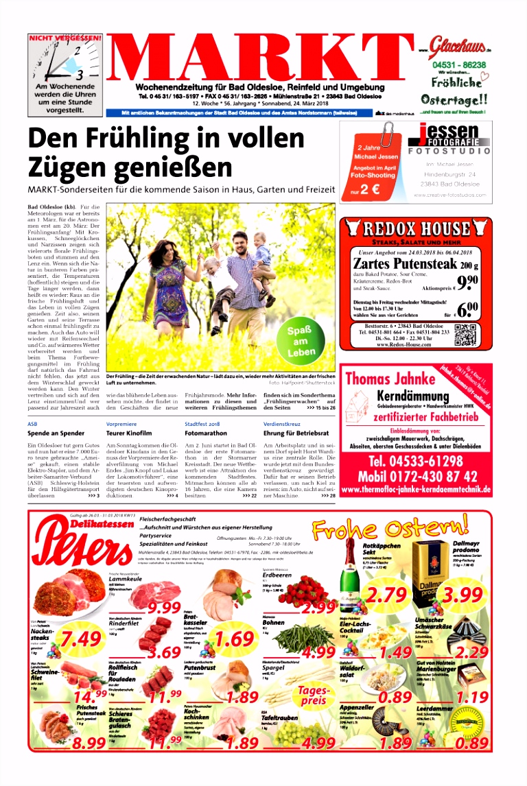 Wochenendzeitung für Bad Oldesloe Reinfeld und Umgebung 24 03 2018
